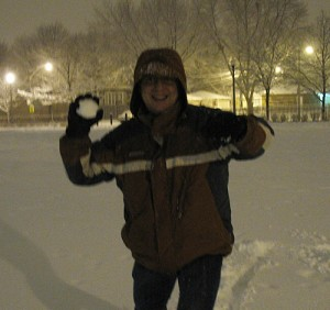 Steve moves in a blur to hit Amy with a snowball