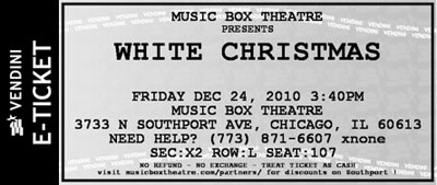 Music Box Theater - White Christmas 2010 Ticket