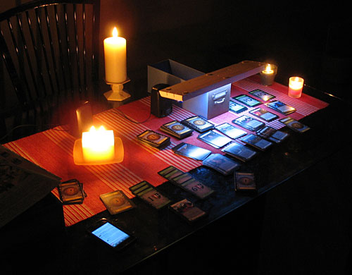 "Playing ""Dominion"" by LED and candlelight"