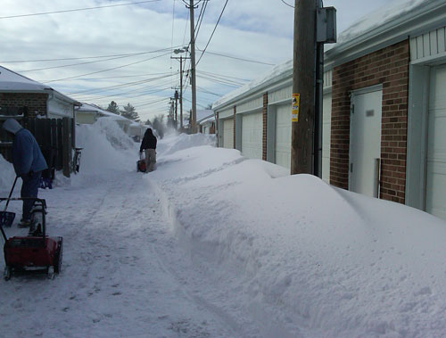 Lots of snow in the alley