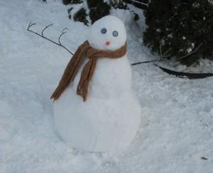 Someone built a snowman!