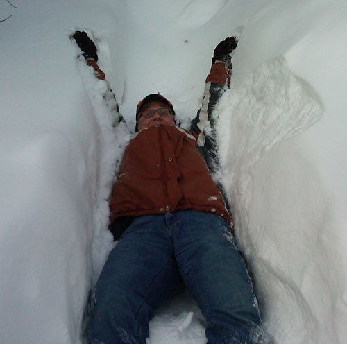 Steve falls between 3-foot snowbanks