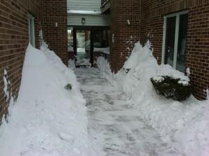 Condo entrance post-snow removal