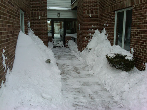 Condo entrance post-snow removal