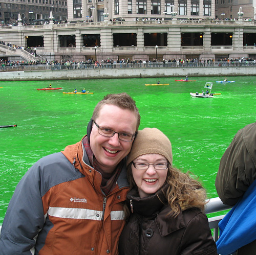 Steve & Amy with a GREEN Chicago River