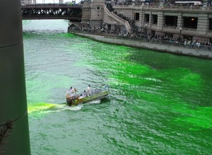 Boat adds dye to water