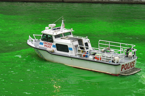 Cops patrolling on emerald waters