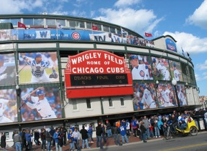 Wrigley Field is decorated to start the season