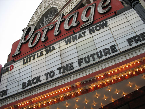 The Portage Theater marquee
