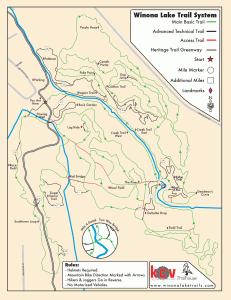 Map of Winona Lake Mountain Bike Trails