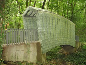 Bridge made of glass blocks on the Sculpture Trail