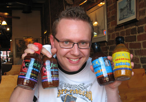 Steve picks up 4 of Jack's 6 sauces!