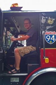 Woo hoo, a fire truck!