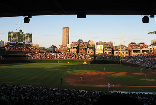 Heading into a night game at Wrigley Field