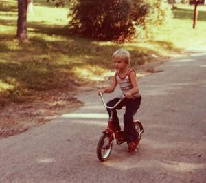 Steve rides in 1980