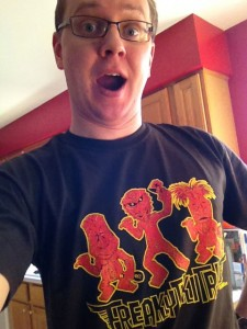 Steve enjoys his new shirt!
