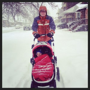 Happiness is a stroller ride in a snowstorm!