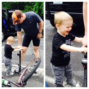Wesley helps us get ready for our family bike ride at Peninsula State Park!